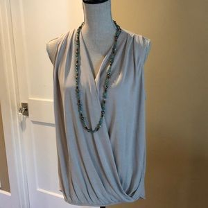Bobeau faux wrap sleeveless blouse